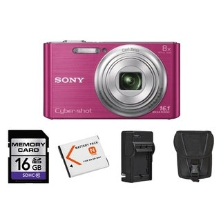 Sony Cyber Shot DSC-W730 16.1MP Pink Digital Camera 16GB Bundle