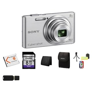 Sony Cyber Shot DSC-W730 16.1MP Silver Digital Camera 8GB Bundle