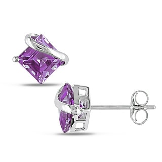 Miadora 10k White Gold 2ct TGW Amethyst Stud Earrings
