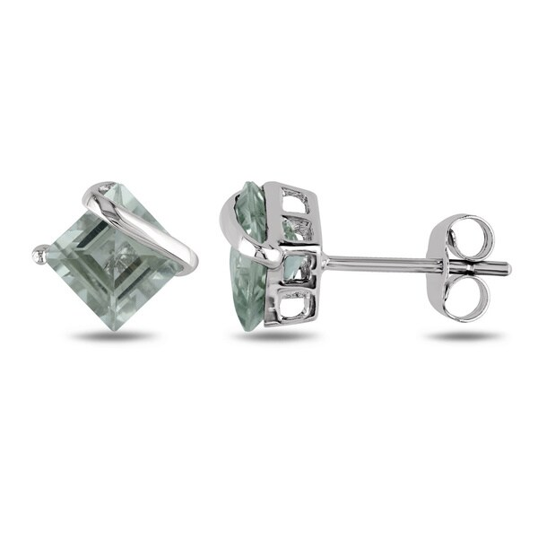 Miadora 10k White Gold 2ct TGW Green Amethyst Stud Earrings