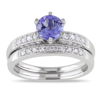 Miadora 10k Gold Tanzanite and 1/3ct TDW Diamond Bridal Ring Set (H-I, I2-I3)