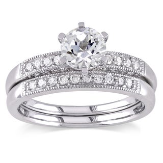 Miadora 10k Gold Created White Sapphire and 1/3ct TDW Diamond Bridal Ring Set (G-H, I2-I3)