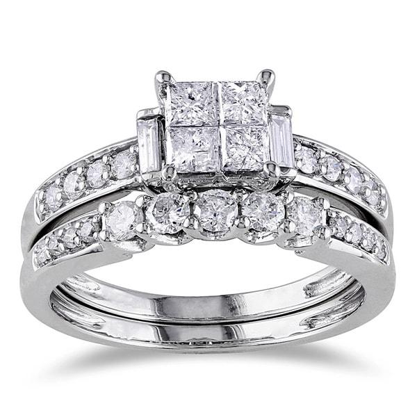 Miadora Signature Collection 14k White Gold 1ct TDW Certified Princess-cut Diamond Quad Engagement Ring Bridal Set (G-H, I1-I2)