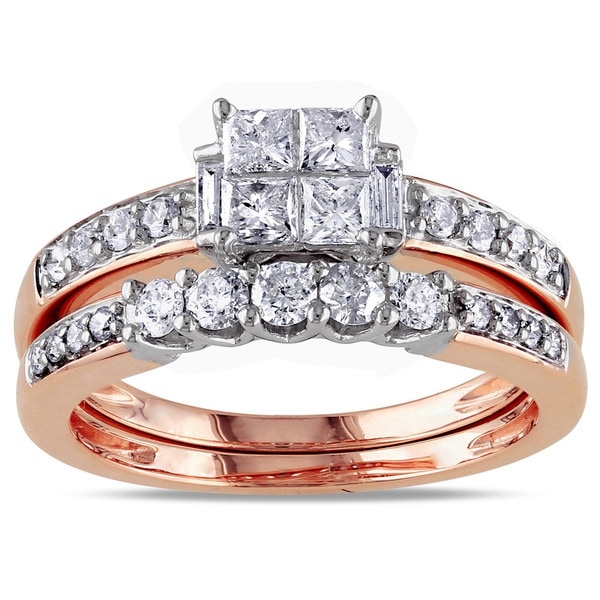 Miadora 14k Rose Gold 1ct TDW Diamond Bridal Ring Set (G-H, I1-I2)