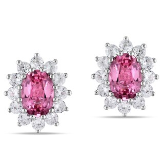Miadora Sterling Silver Pink Tourmaline and Created White Sapphire Earrings
