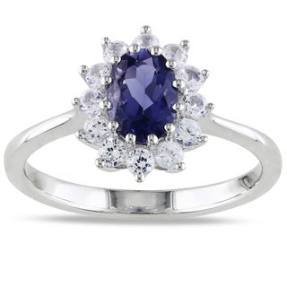 Miadora Sterling Silver Iolite and Created White Sapphire Ring