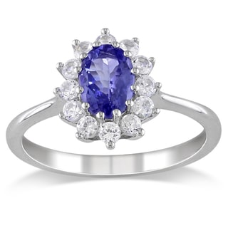 Miadora Sterling Silver Tanzanite and Created White Sapphire Ring