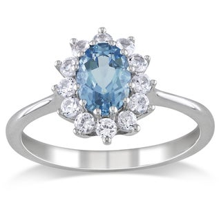 Miadora Sterling Silver Aquamarine and Created White Sapphire Ring