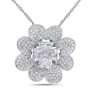 Miadora 14k White Gold 2ct TDW Diamond Flower Necklace (G-H, I1-I2)