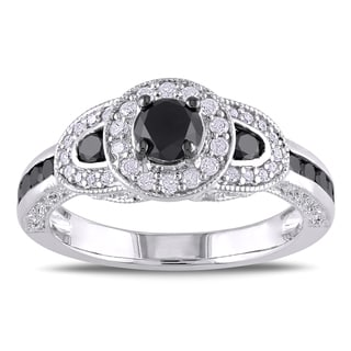 Miadora Sterling Silver 3/4ct TDW Black and White Diamond Miligrain-detailed Ring (H-I, I2-I3)