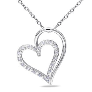 M by Miadora Sterling Silver 1/10ct TDW Diamond Heart Necklace (H-I, I2-I3)