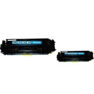 BasAcc Cyan Toner Cartridge Compatible with HP CC531A (Pack of 2)