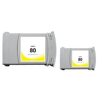 INSTEN Yellow Ink Cartridge for HP 80 (Remanufactured) (Pack of 2)