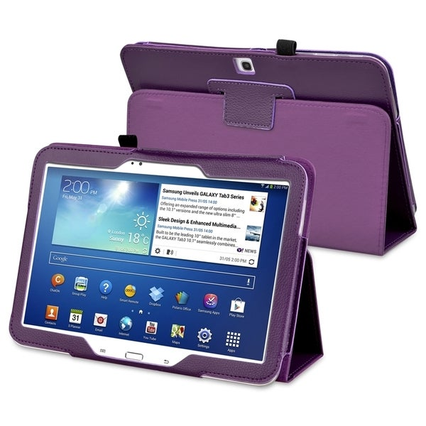 INSTEN Purple Leather Tablet Case Cover with Stand for Samsung Galaxy Tab 3 10.1