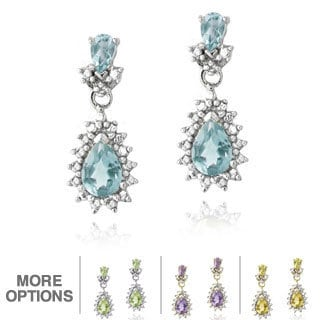 Glitzy Rocks Sterling Silver Multi-gemstone and Diamond Earrings (I-J, I2-I3)