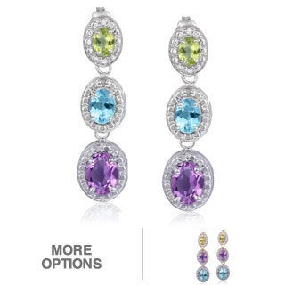 Glitzy Rocks Sterling Silver Multi Gemstone and Diamond Earrings (I-J, I2-I3)