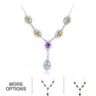 Glitzy Rocks Sterling Silver Gemstones 'Y' Necklace