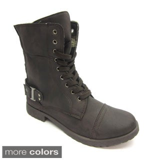 Blue Women's 'Molly-Ann' Lace-up Combat Boots