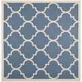 Safavieh Indoor/ Outdoor Courtyard Geometric-pattern Blue/ Beige Rug (4' Square)