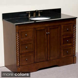 Natural Granite 48-inch Traditional Single Sink Bathroom Vanity and Roped Molded Pilaster in Light Walnut Finish