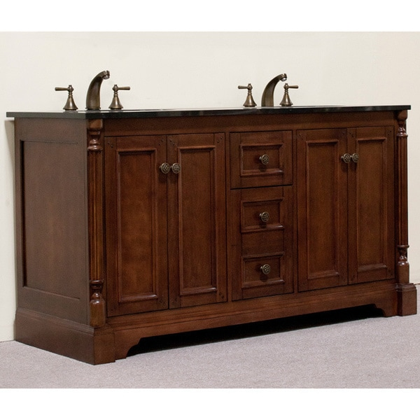 natural granite 60 inch traditional double sink bathroom vanity and