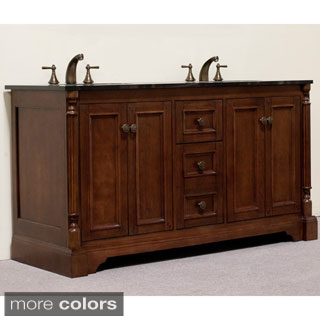 Natural Granite 60-inch Traditional Double Sink Bathroom Vanity and Fluted Pilaster in Light Walnut Finish
