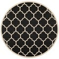 Safavieh Indoor/ Outdoor Courtyard Black/ Beige Polypropylene Rug (5'3 Round)