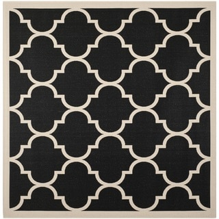Safavieh Indoor/ Outdoor Courtyard Black/ Beige Area Rug (5'3'' Square)