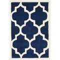 Safavieh Handmade Moroccan Chatham Contemporary Dark Blue/ Ivory Wool Rug (2'3'' x 5')