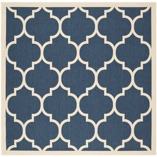 Safavieh Indoor/ Outdoor Courtyard Trellis Pattern Navy/ Beige Rug (4' Square)