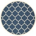 Safavieh Indoor/ Outdoor Courtyard Navy/ Beige Rug (7' Round)