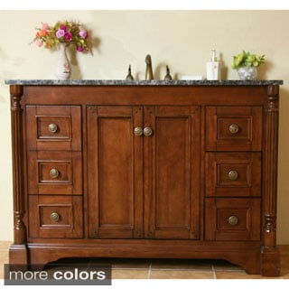 Natural Granite 48-inch Traditional Single Sink Bathroom Vanity with Fluted Pilaster in Light Walnut Finish