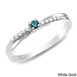 Auriya 10k White or Two-tone Gold 1/10ct TDW Blue and White Diamond Ring (J-K, I1-I2)