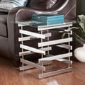 Upton Home Hayes Chrome Glass End Table