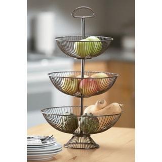 24-Inch Three-Tier Decorative Wire Basket Stand