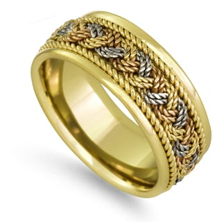 18k Tri-color Gold Woven Rope Comfort-fit Wedding Band