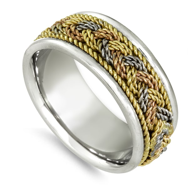 18k Tri-color Gold Twisted Rope Comfort-fit Wedding Band