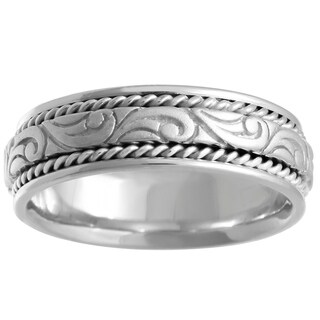18k White Gold Swirl Center Comfort-fit Wedding Band