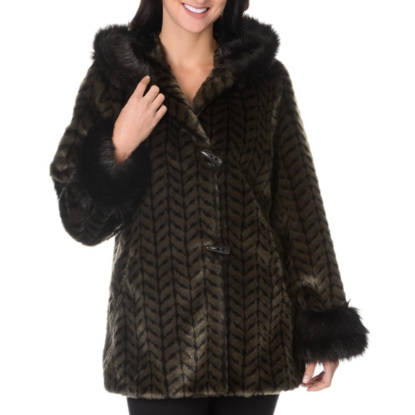 Nuage Women's Furry Zig Zag Weave Short Coat
