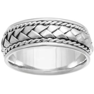 18k White Gold Woven Center Comfort-fit Wedding Band