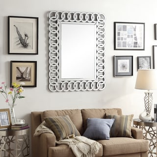 Nihoa Silver Interlocking Rings Rectangular Accent Wall Mirror