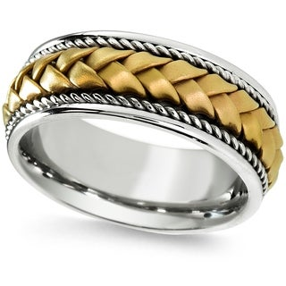 18k Two-tone Gold Woven Comfort-fit Wedding Band