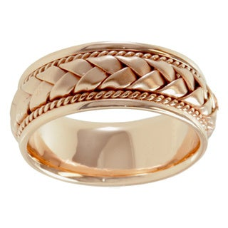 18k Rose Gold Woven Comfort-fit Wedding Band