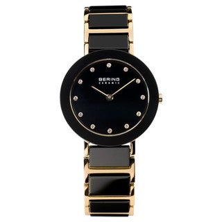 Bering Time Women's Black Ceramic and Rose Watch