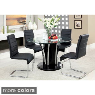 Furniture of America Ziana Contemporary 5-Piece 48-inch Tempered Glass Table Dining Set