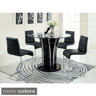Furniture of America Ziana Contemporary 5-Piece 48-inch Counter Height Round Tempered Glass Dining Set