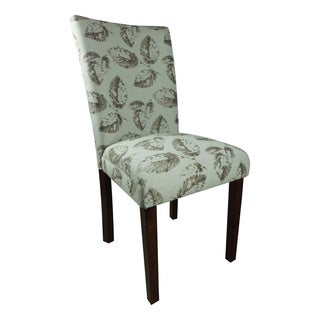 Teal/ Brown Leaf Print Parson Chairs (Set of 2)