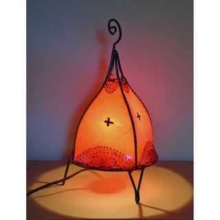 Handmade Red Leather and Iron Henna Accent Lamp (Morocco)