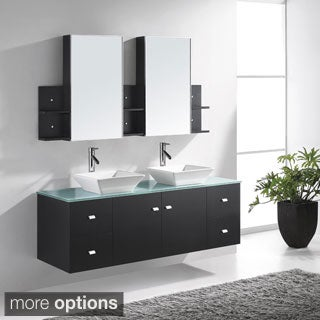 Virtu USA Clarissa 61-inch Double Sink Bathroom Vanity Set