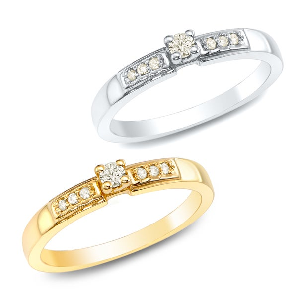 Auriya 10k White or Yellow Gold 1/10ct TDW White Diamond Promise Ring (J-K, I1-I2)